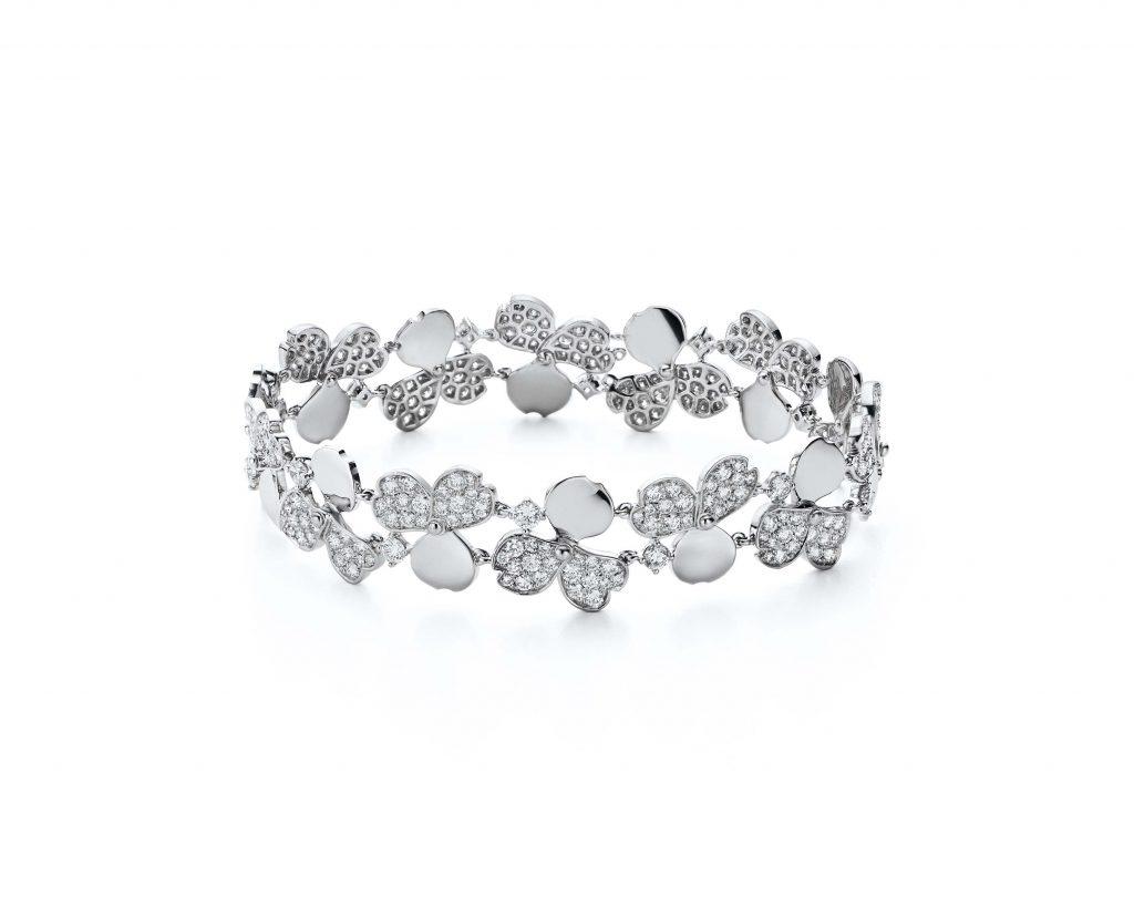 Tiffany Paper Flowers™ bracelet in platinum with diamonds.