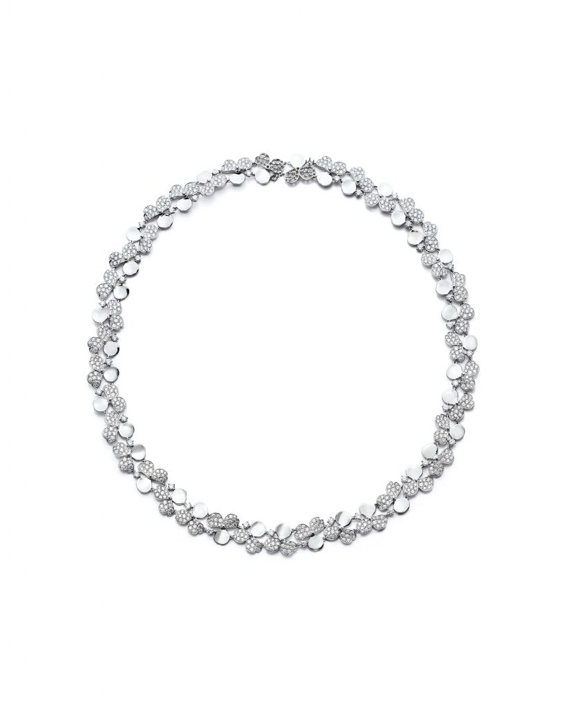 Tiffany Paper Flowers™ necklace in platinum with diamonds