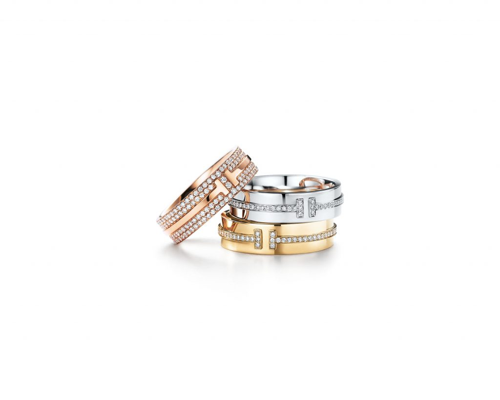 Tiffany T two ring in 18k rose gold with pavé diamonds Tiffany T two ring in 18k white gold with diamonds Tiffany T tw