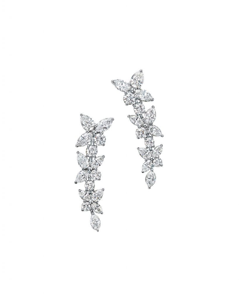 Tiffany Victoria™ earrings in platinum with mixed-cut diamonds