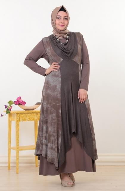 فستان-سهرة-باللون-البني