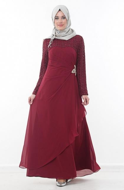 فستان-سهرة-باللون-النبيتي