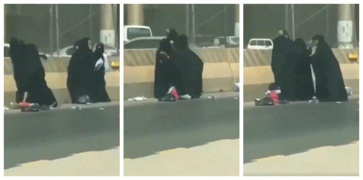 بالفيديو.. معركة حامية بين نساء متسولات بالسعودية