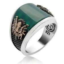 بالعقيق الأخضر خاتم فضة رجالي