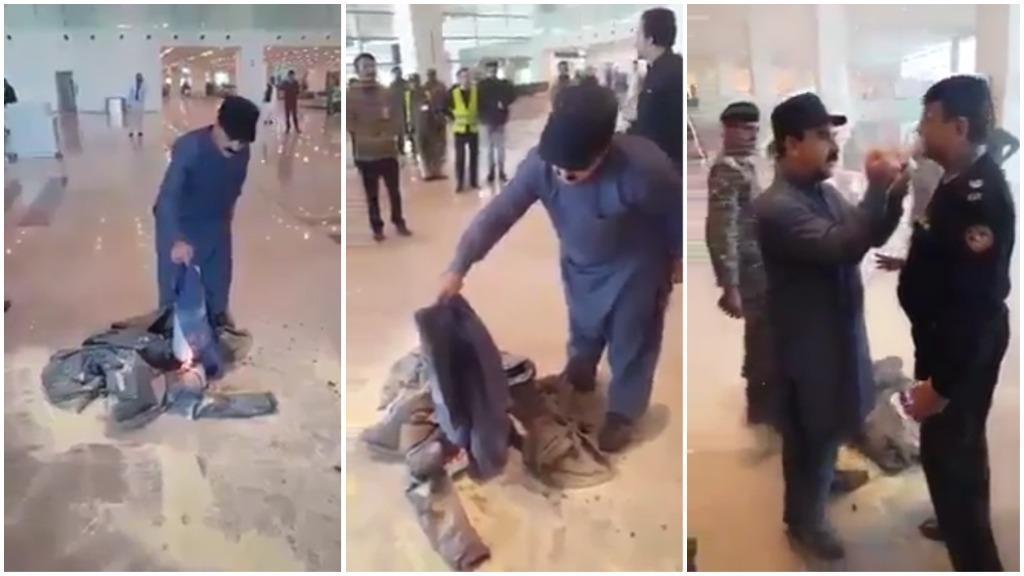 فيديو وزير يحرق ملابسه في المطار احتجاجا على إلغاء رحلته