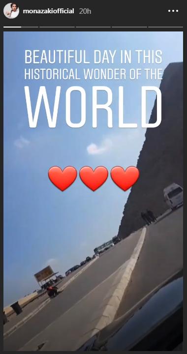 منى-زكى-في-طريقها-الى-الاهرامات