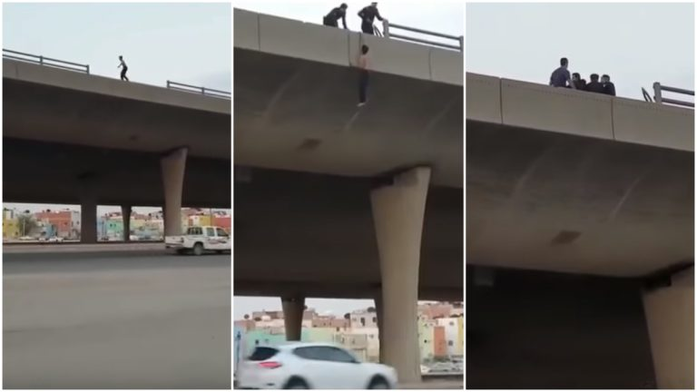 بالفيديو.. لحظات إنقاذ شاب حاول الانتحار في السعودية
