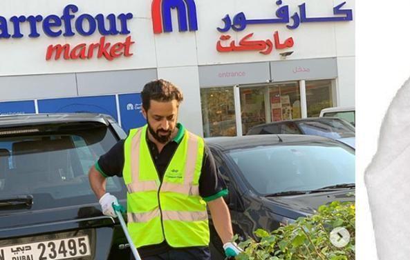 بالصور.. رجل أعمال إماراتي تحول إلى عامل نظافة في الشارع