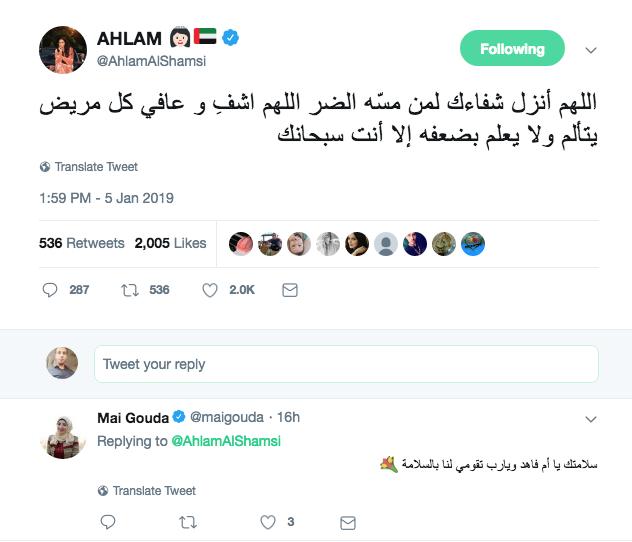 احلام تدعو بالشفاء لكل مريض على تويتر