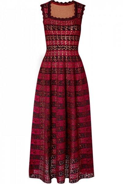 فستان-جاكار-الاحمر-والاسود