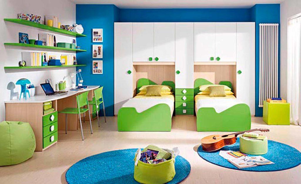 تصميم مبتكر لغرفة نوم أطفال بسريرين