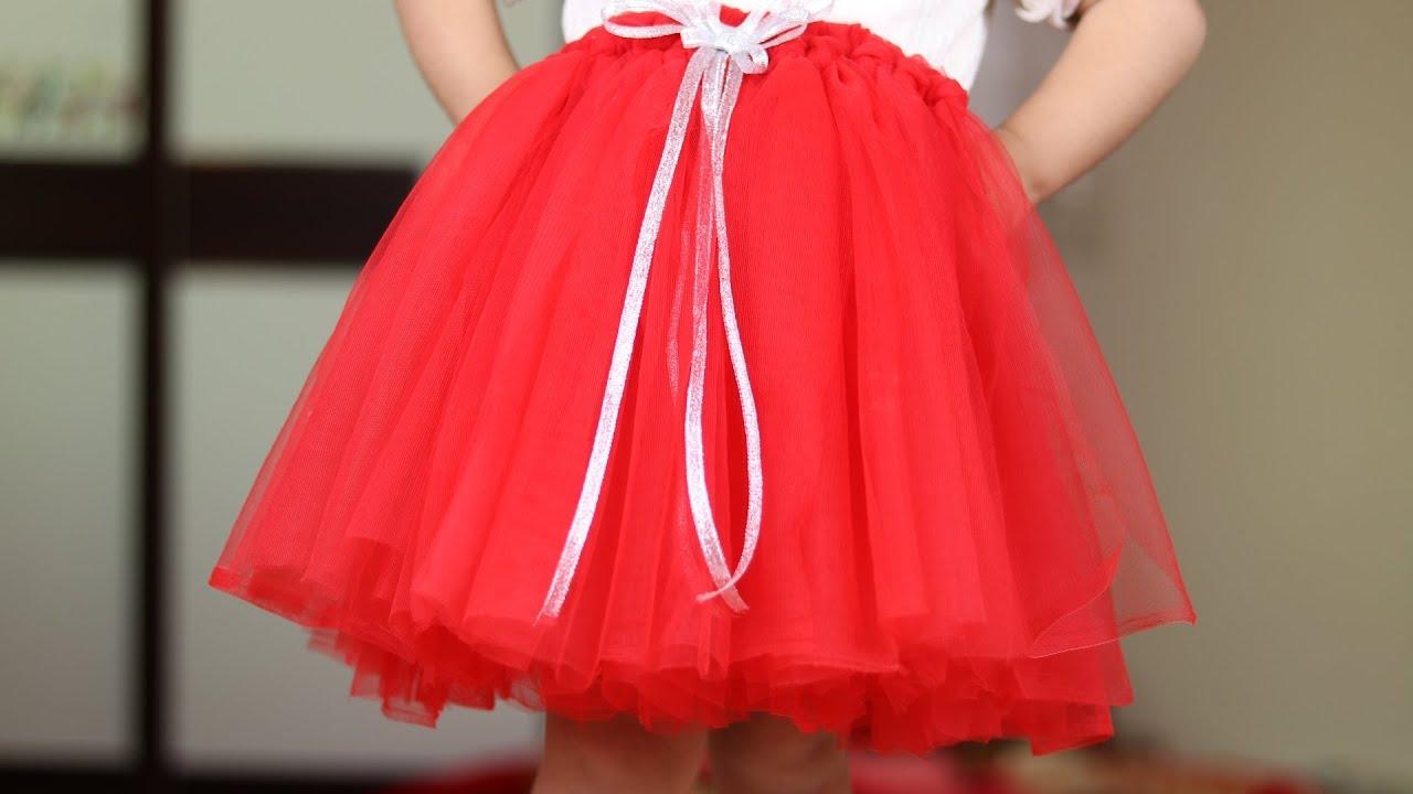 تنورة اطفال جميلة منفوشة باللون الاحمر