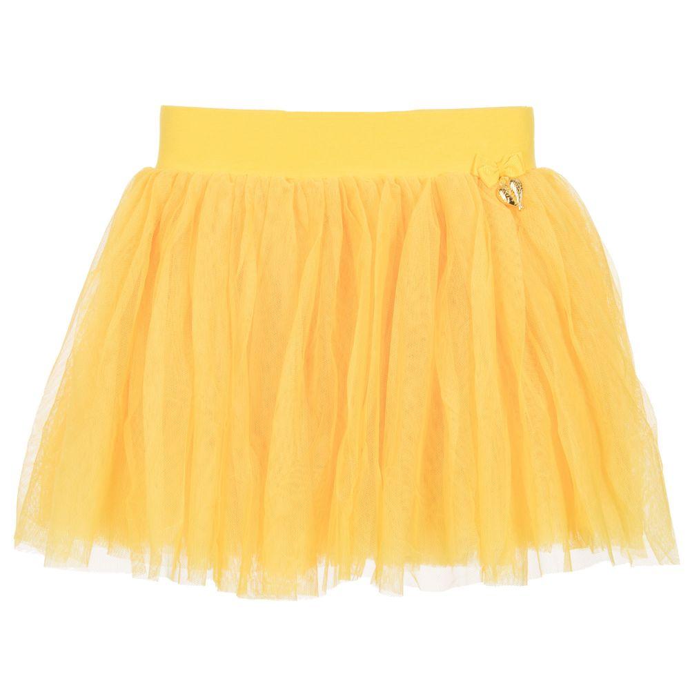 تنورة من التل باللون الأصفر للفتيات