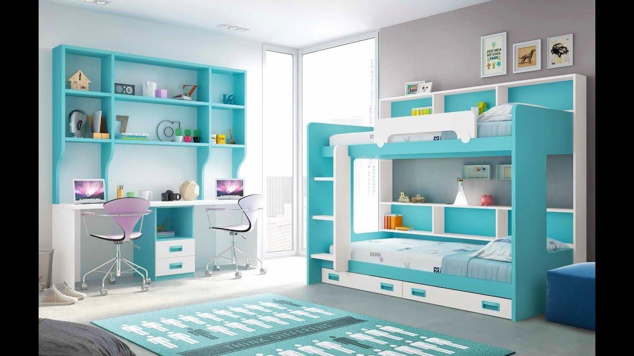 غرفة نوم أطفال بسريرين ستايل 2019