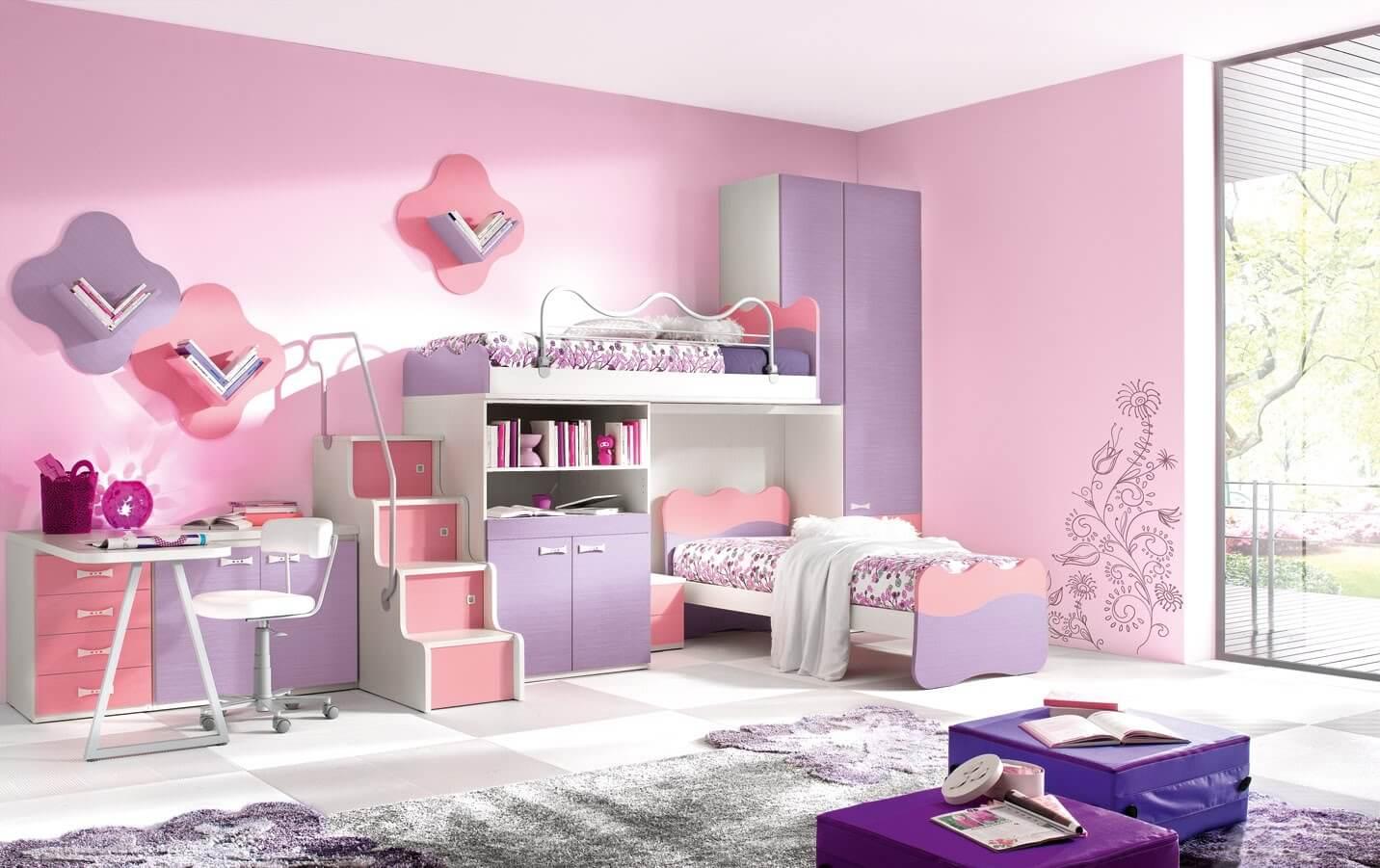 غرفة نوم أطفال باللون البمبي والموف اختيار مثالي للفتيات