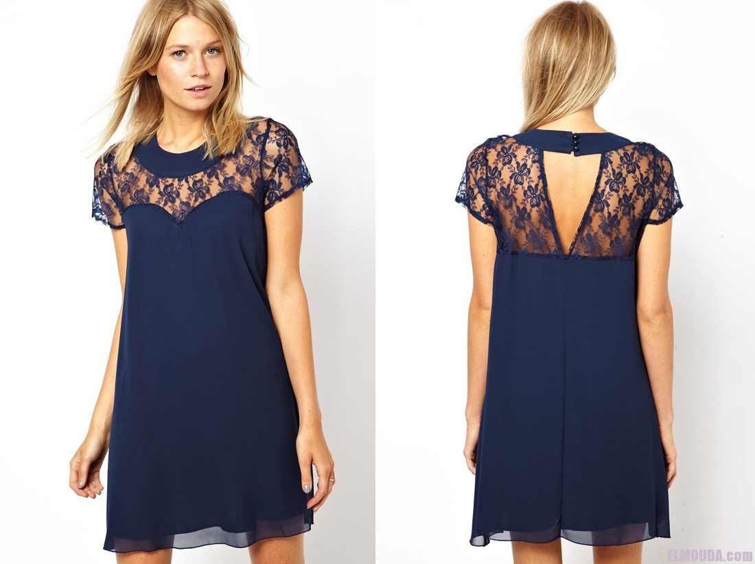 فستان باللون الأزرق مزين بالدانتيل