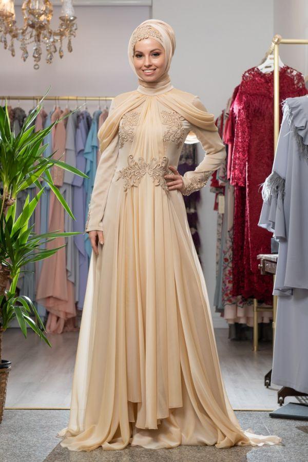 فستان تركي مميز للمحجبات باللون البيج