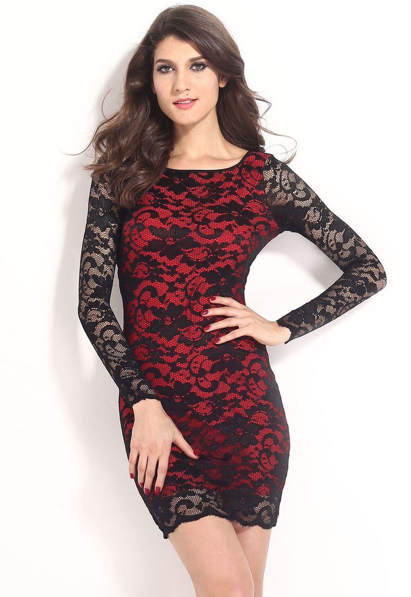 فستان دانتيل بالأسود والأحمر