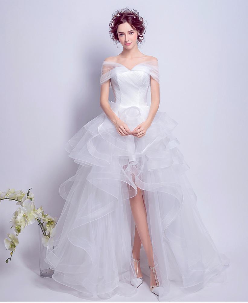 فستان زفاف شيفون قصير من الأمام وطويل من الخلف