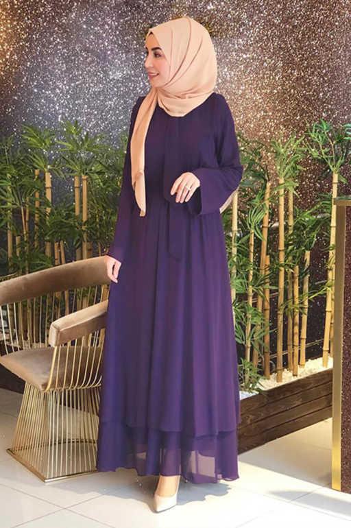 فستان شيفون باللون الموف للمحجبات