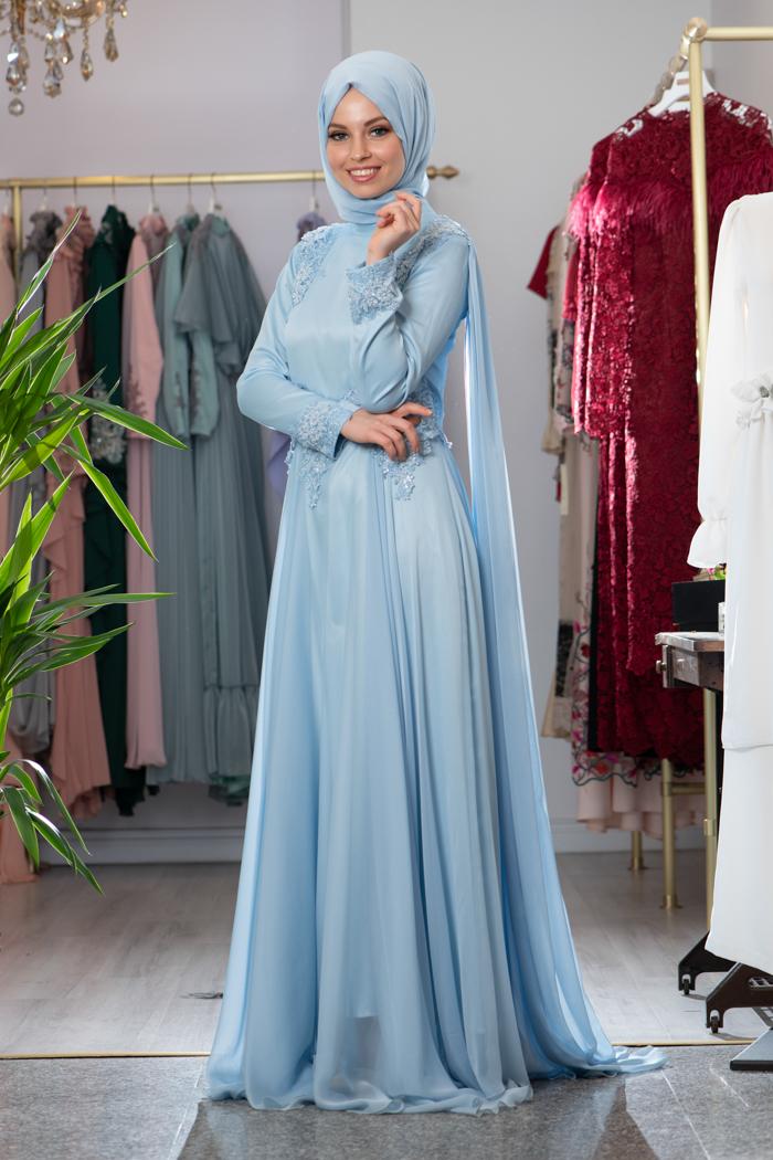 فستان شيفون تركي باللون الازرق الفاتح