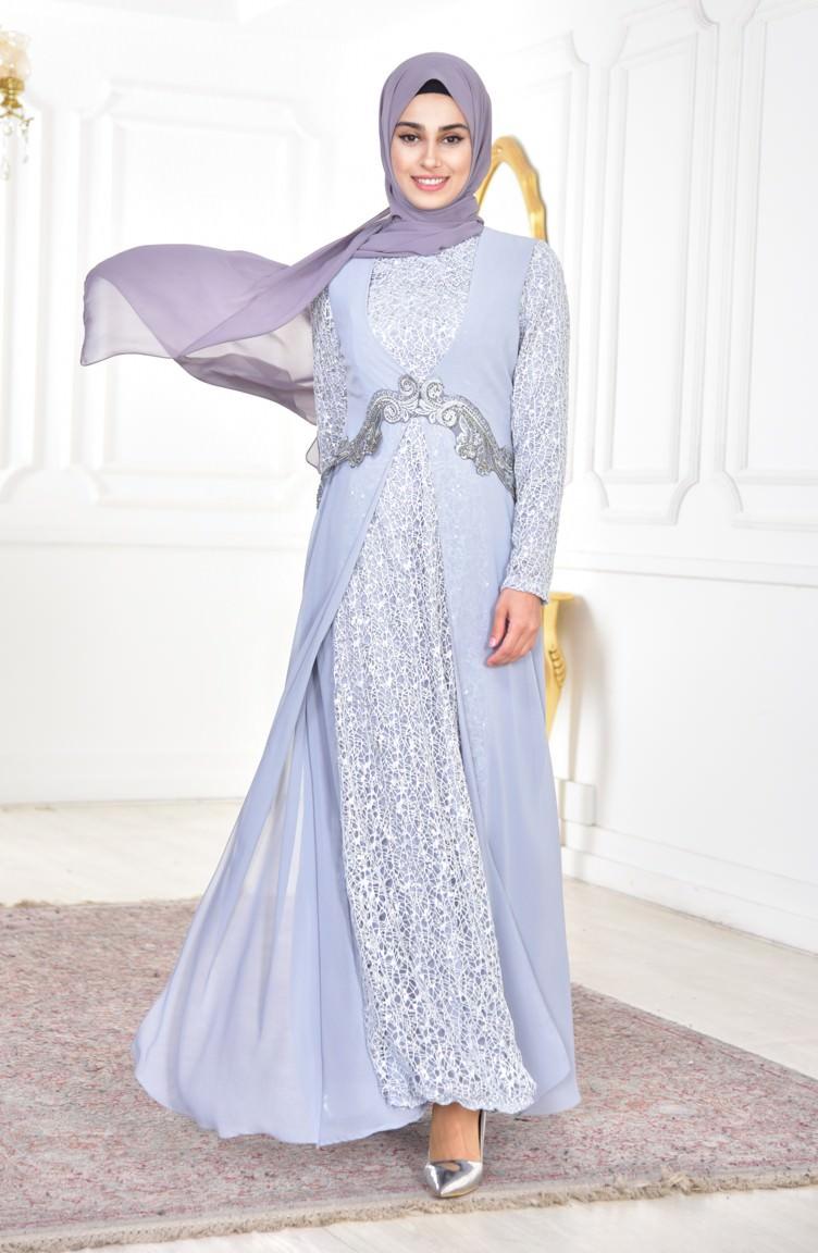 فستان مصنوع من الشيفون مطرز بالترتر