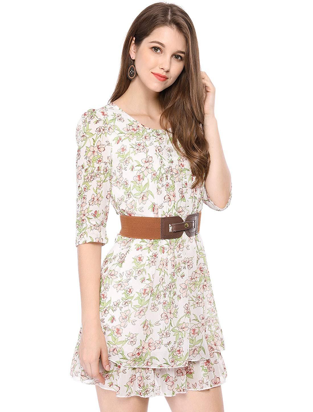فستان فلوري قصير من الشيفون