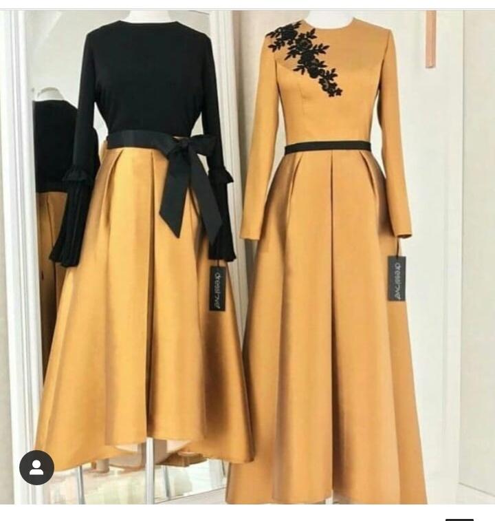 من اللون المستطردة واللون الأسود فستان سهرة مميز