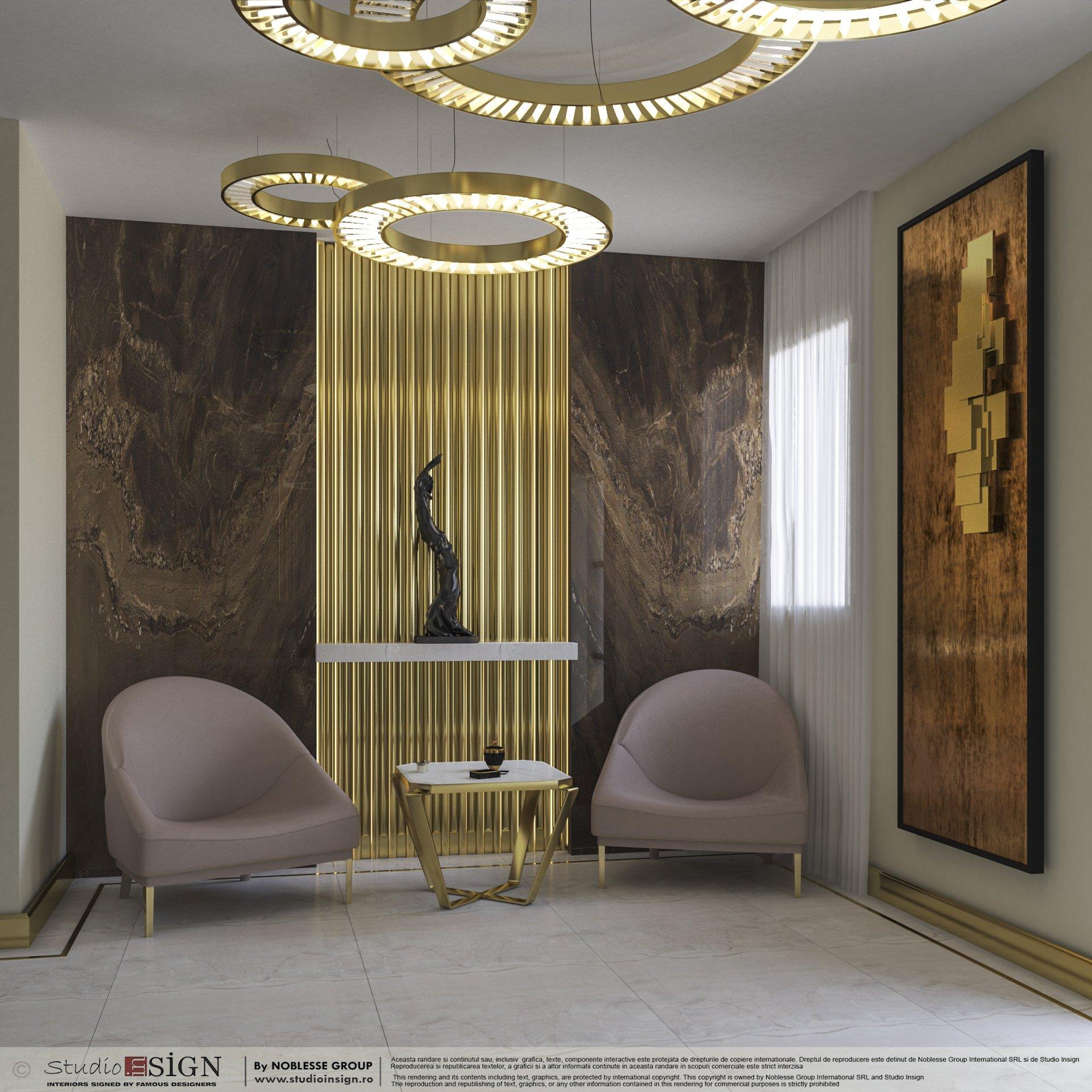 ديكور صالات مودرن باللون البيج والذهبي