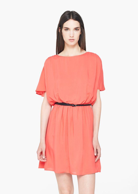 فستان قصير من اللون البرتقالي