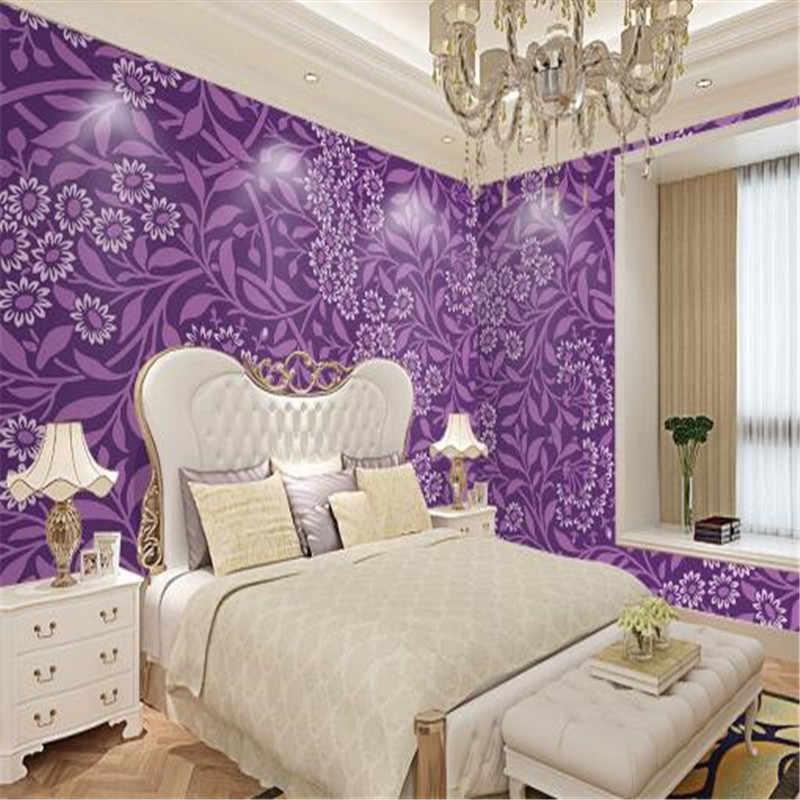 أجمل تصميمات ورق الحائط الارجواني والفضي لغرف النوم