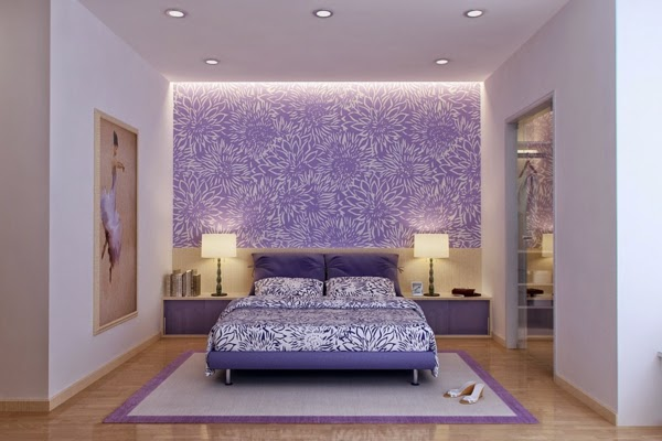 ورق حائط بتصميم مميز وجميل باللون البنفسجي