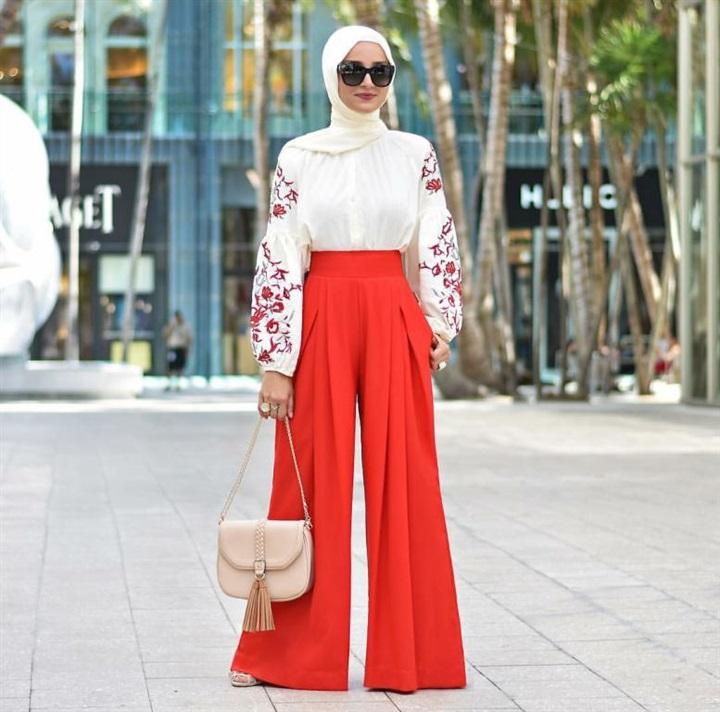 أجمل تنسيقات الحجاب مع البنطلون الشارلستون