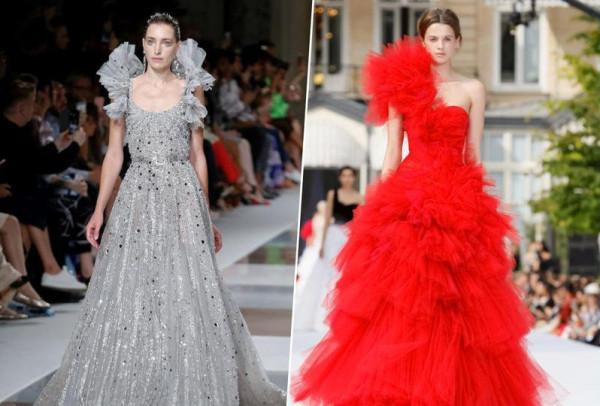 أحدث تصميمات الفساتين الكشكش الطبقات
