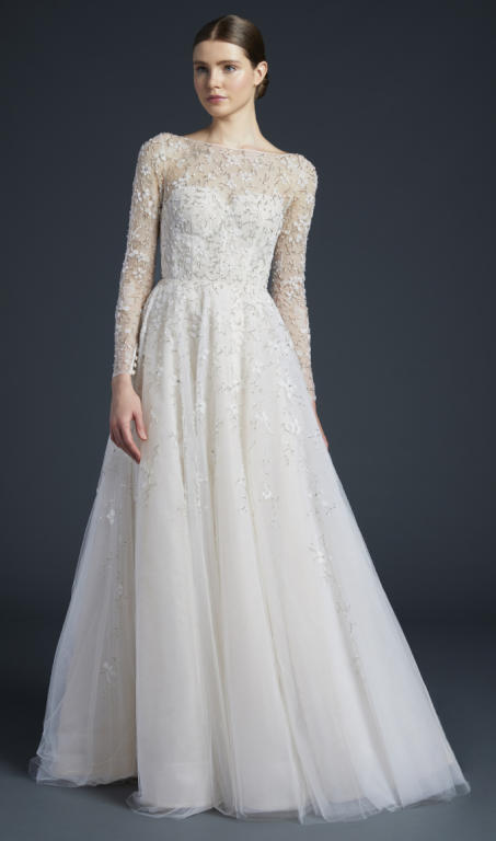 أرق تصميمات فساتين الزفاف بكم طويل 2019