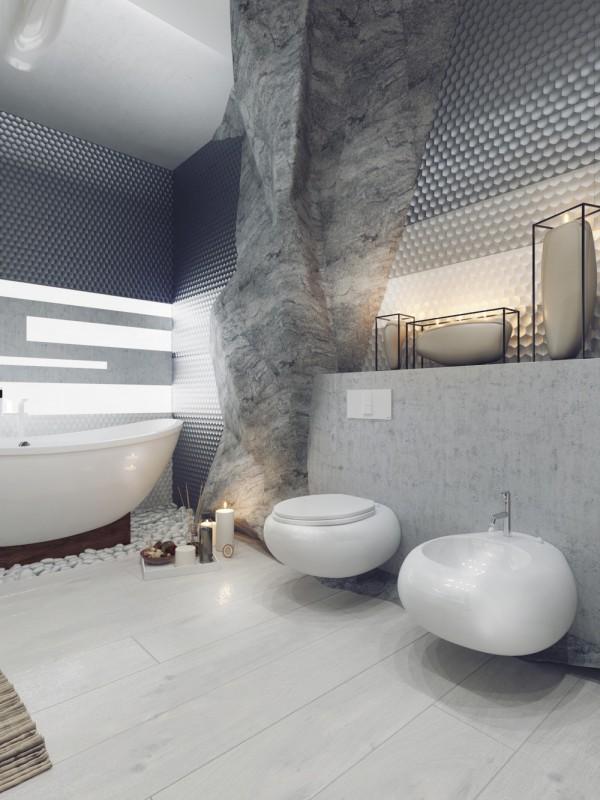 اللون الرمادي يضفي طابع رقيق على تصميم الحمام
