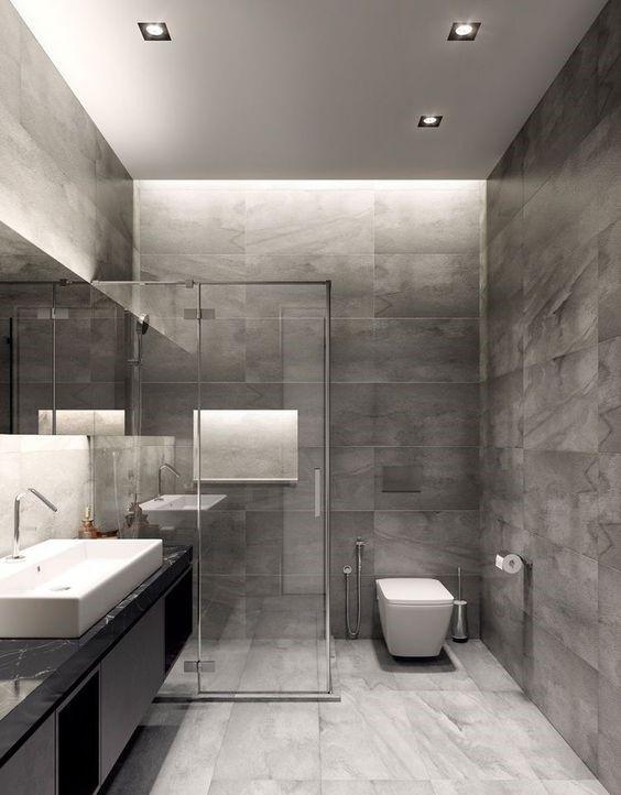 تصميم حمام فخم بالسيراميك الرمادي والاسود