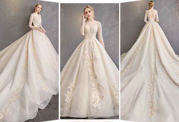 تصميم ملكي مميز لفستان العروس لعام 2019 بكم طويل