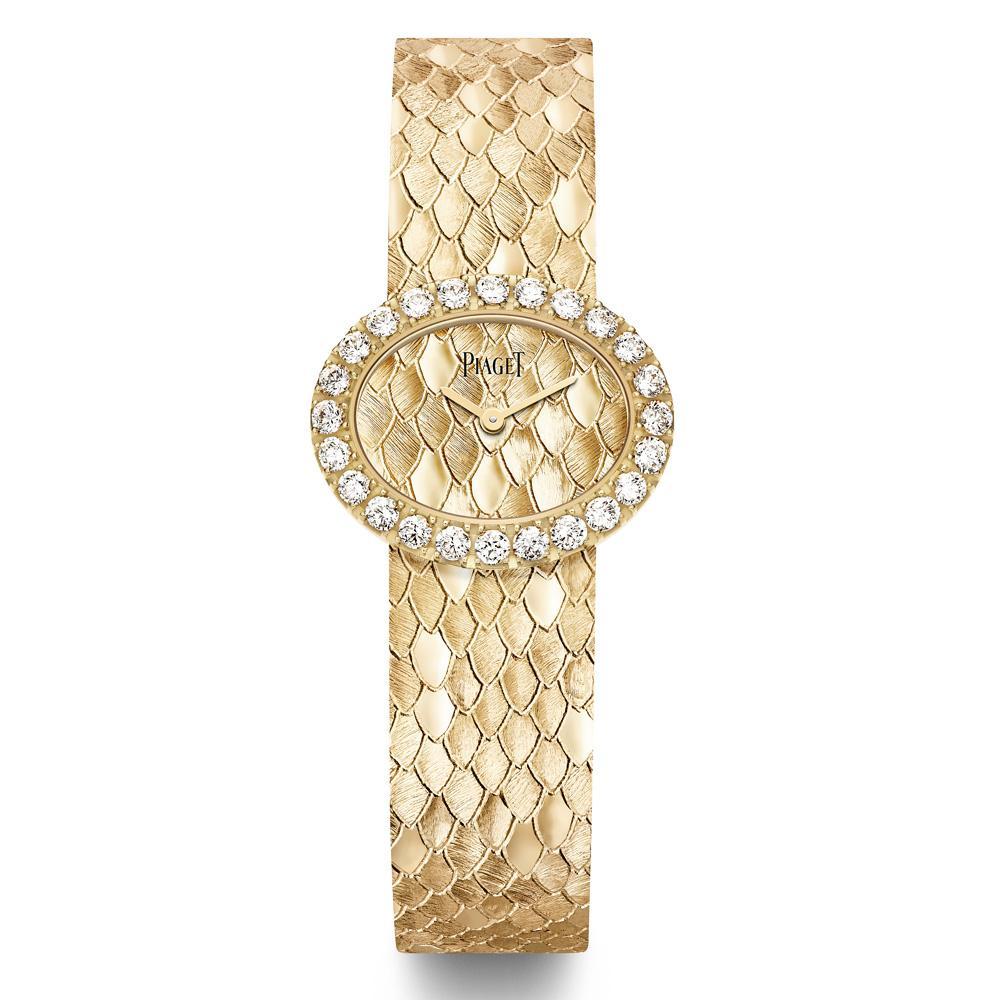 ساعة ذهبية من ماركة بياجيه تزينها حبات الماس