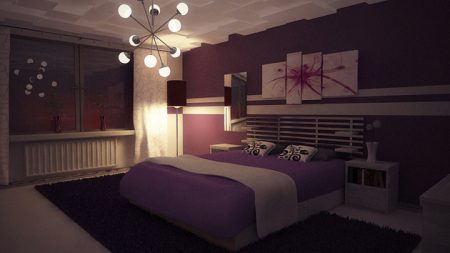 غرف نوم يزينها ورق حائط بنفسجي وفضي