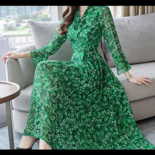 فستان شيفون مميز للمحجبات باللون الاخضر