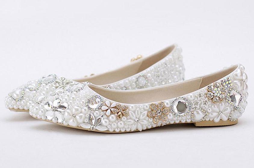 احذية للعروس بدون كعب 2019