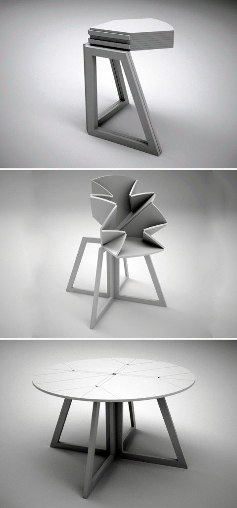 صور تصميم طاولة طعام خشبية قابلة للتمدد