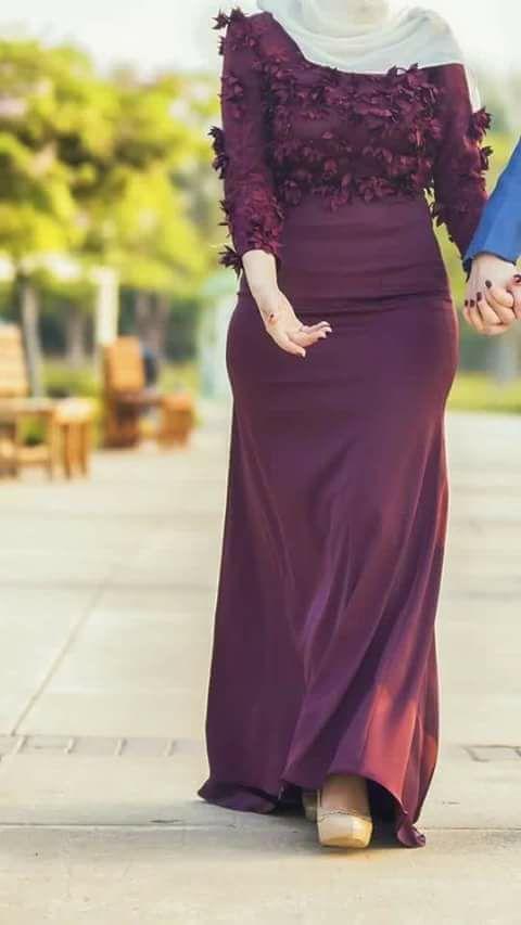 _ أشكال فستان ستان طويل سادة بكم للمحجبات مناسب للسهرات