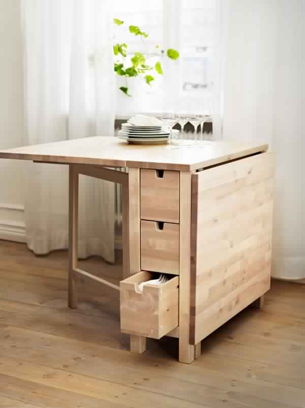 أشكال عملية لطاولات الطعام الخشبية قابلة للطي