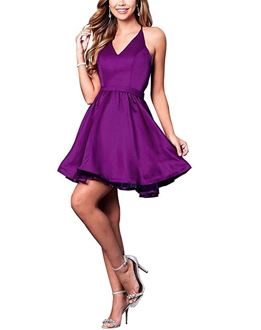 تصميم فستان خطوبة قصير باللون البنفسجي_
