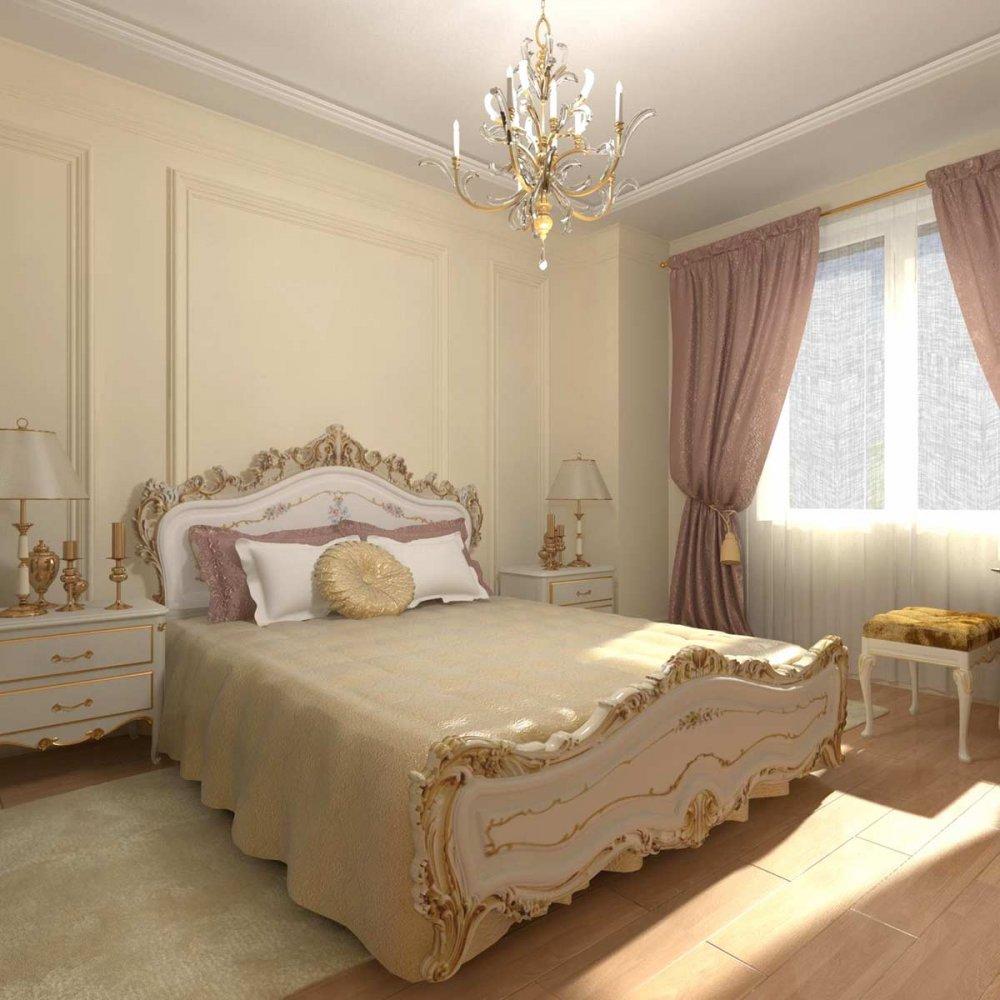 صور أشكال غرف نوم كلاسيك باللون الذهبي
