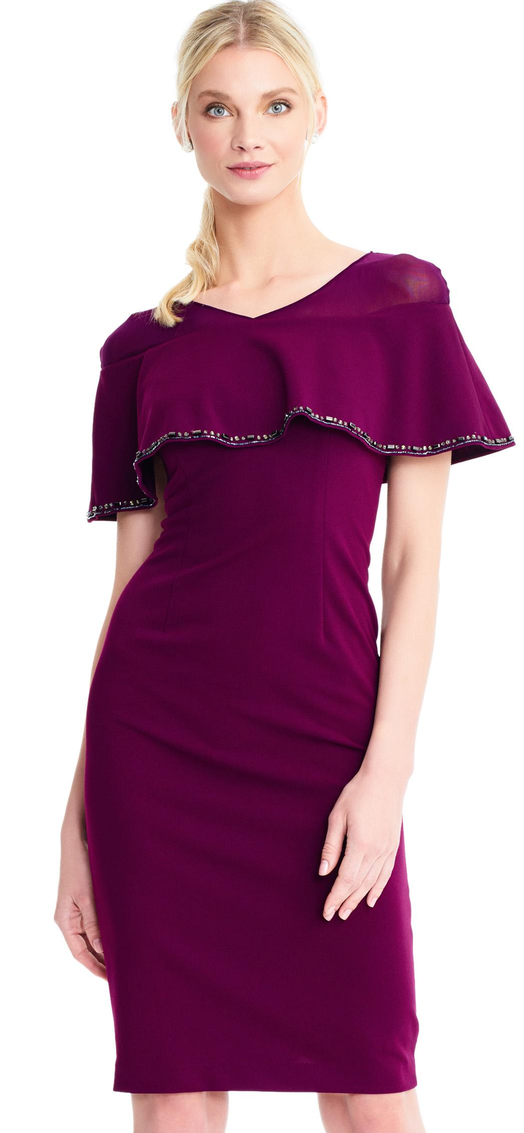 فستان خطوبة قصير باللون البنفسجي