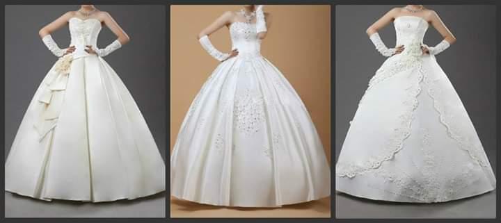 فساتين زفاف منقوشة باللون الأبيض