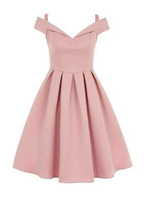 تصميم فستان ستان قصير منفوش باللون الوردي الفاتح